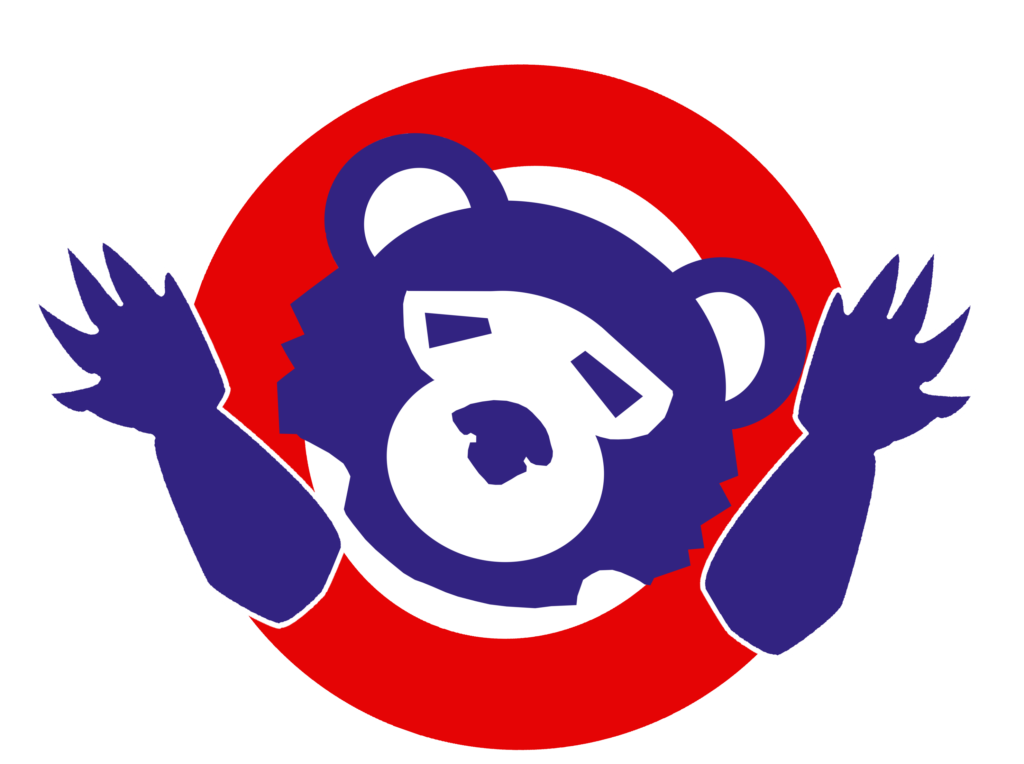 Knockoff Cubs logo shrugging its shoulders